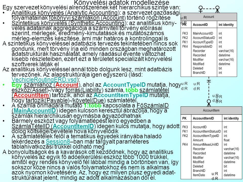 Könyvelési adatok modellezése
