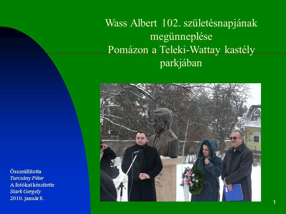 Wass Albert 102. születésnapjának megünneplése Pomázon a Teleki-Wattay kastély parkjában