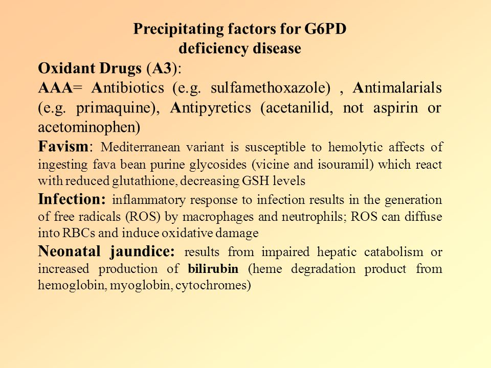 Precipitating factors for G6PD