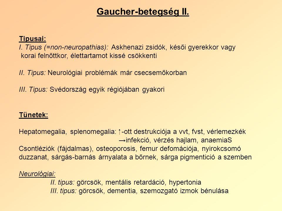 Gaucher-betegség II. Tipusai: