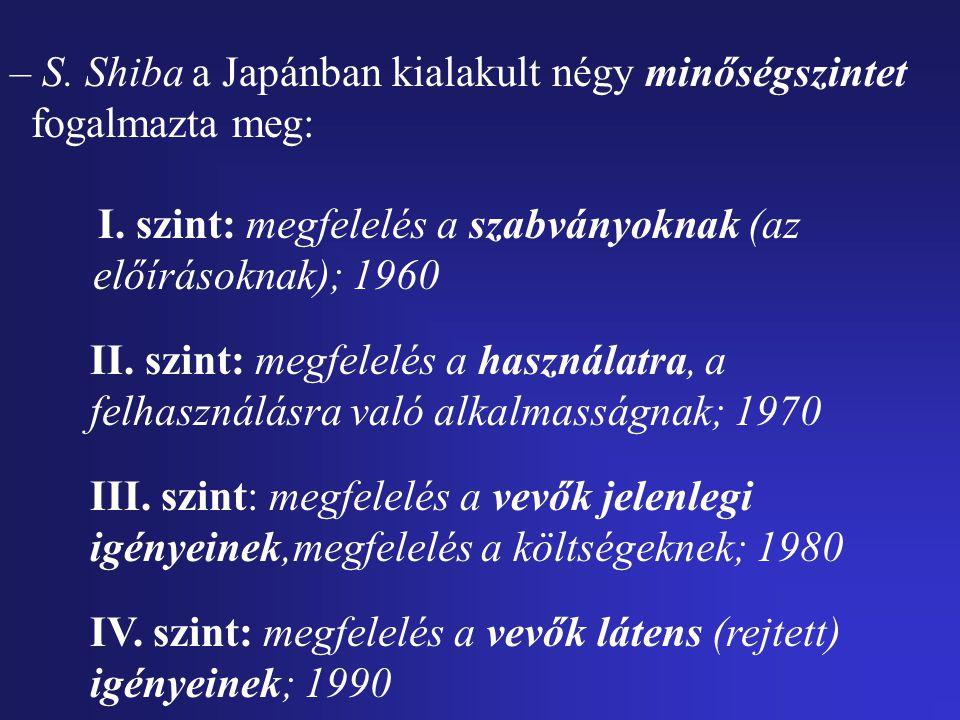 – S. Shiba a Japánban kialakult négy minőségszintet fogalmazta meg: