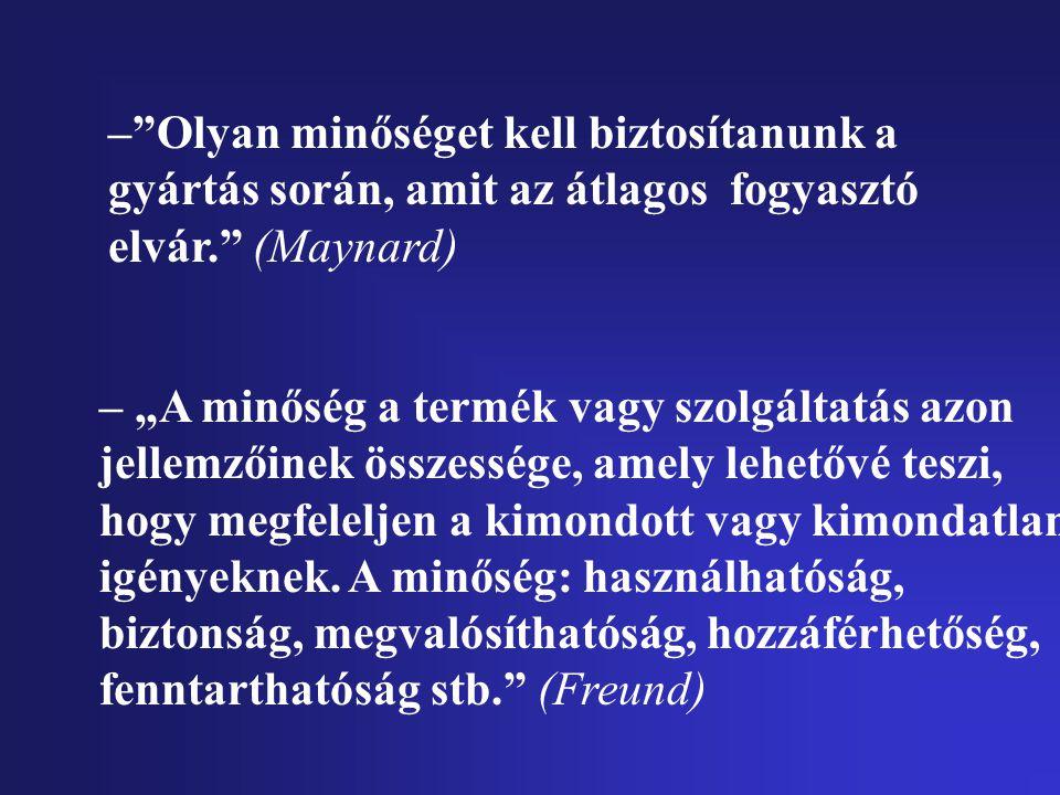 – Olyan minőséget kell biztosítanunk a gyártás során, amit az átlagos fogyasztó elvár. (Maynard)