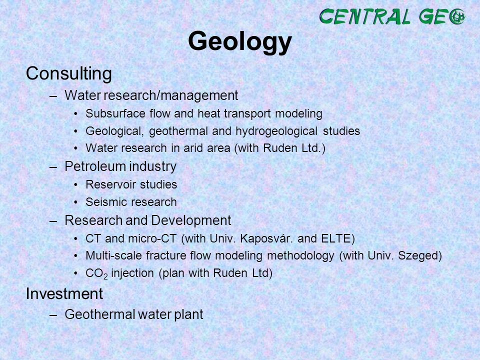 Geology Consulting Investment Water research/management