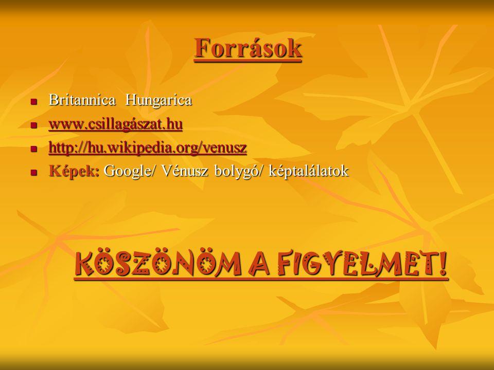 Források KÖSZÖNÖM A FIGYELMET! Britannica Hungarica