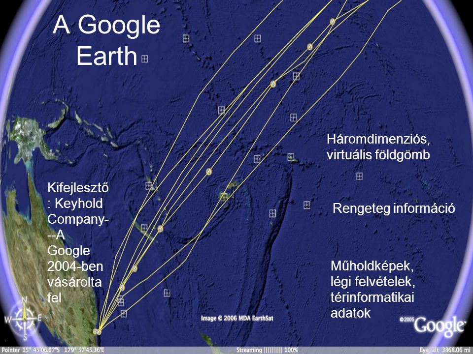 A Google Earth Háromdimenziós, virtuális földgömb