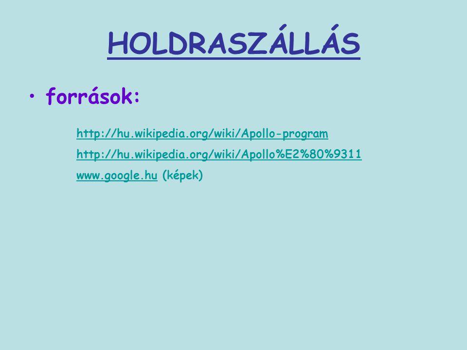 HOLDRASZÁLLÁS források: http://hu.wikipedia.org/wiki/Apollo-program