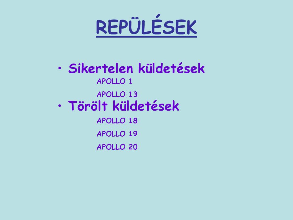 REPÜLÉSEK Sikertelen küldetések Törölt küldetések APOLLO 1 APOLLO 13