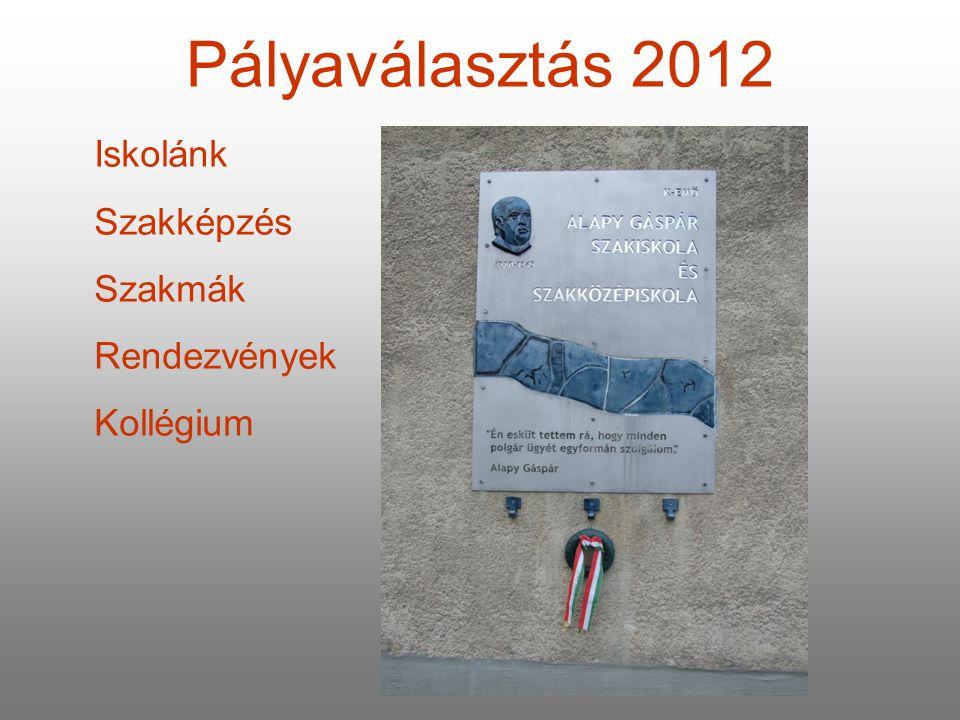 Pályaválasztás 2012 Iskolánk Szakképzés Szakmák Rendezvények Kollégium