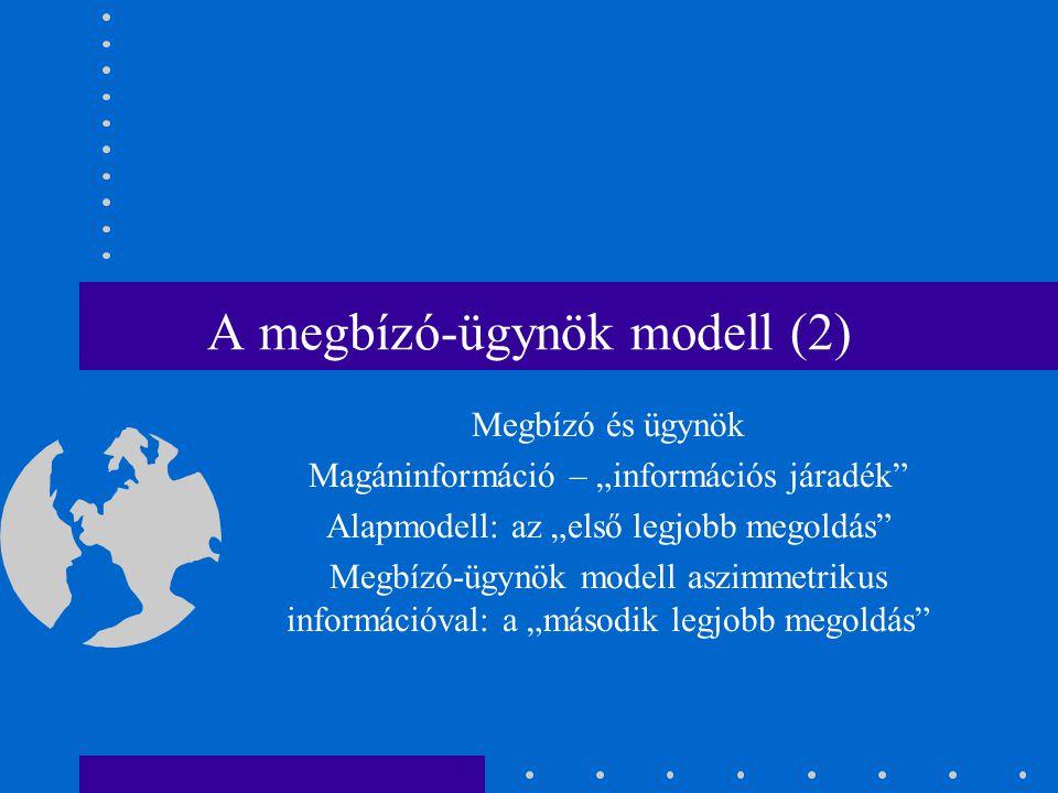 A megbízó-ügynök modell (2)