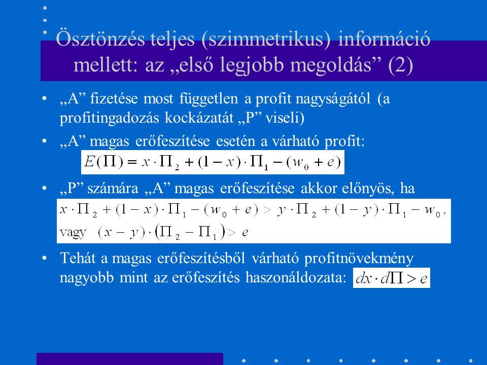 """Ösztönzés teljes (szimmetrikus) információ mellett: az """"első legjobb megoldás (2)"""