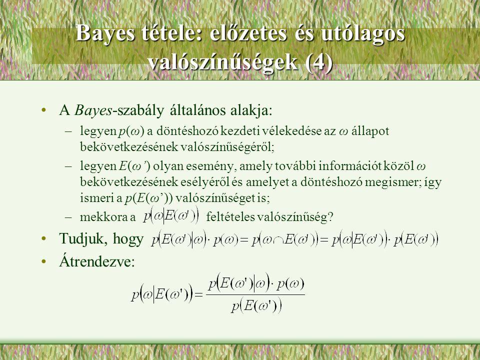 Bayes tétele: előzetes és utólagos valószínűségek (4)