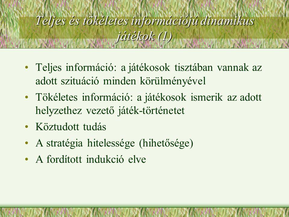 Teljes és tökéletes információjú dinamikus játékok (1)