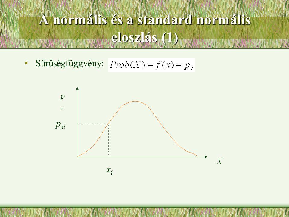 A normális és a standard normális eloszlás (1)