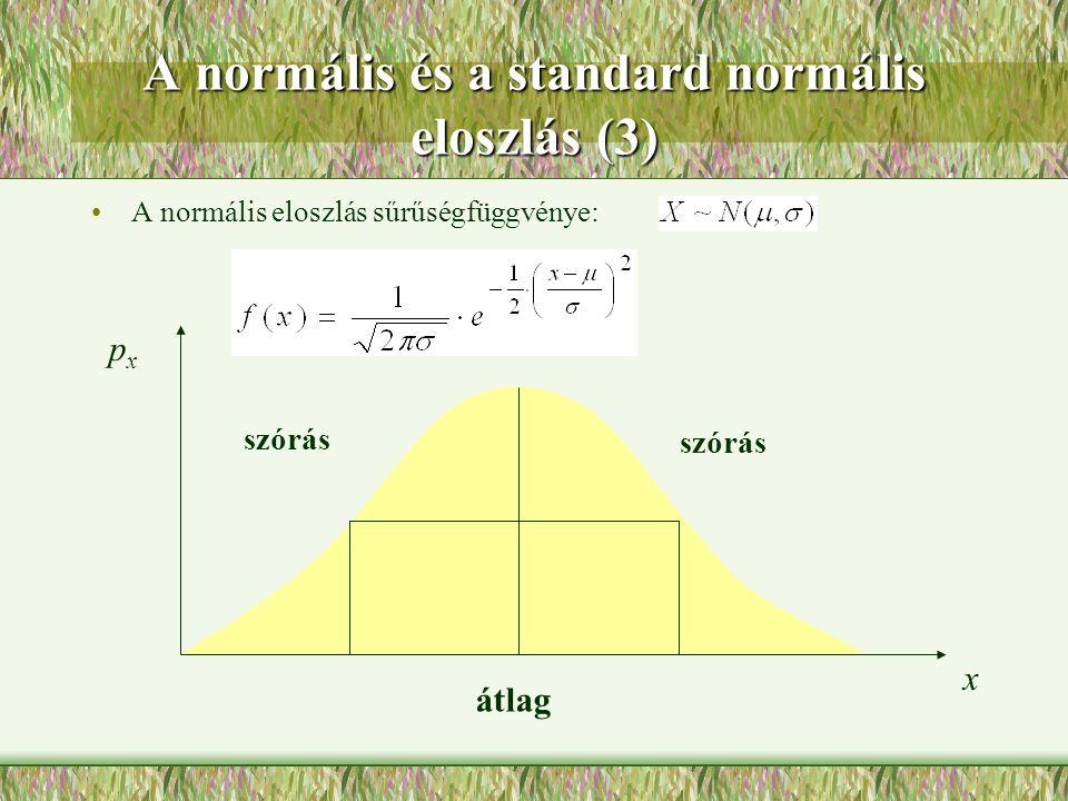 A normális és a standard normális eloszlás (3)