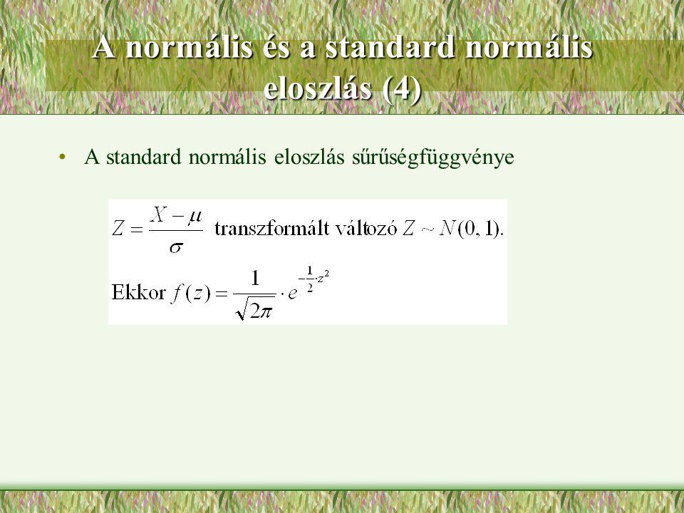 A normális és a standard normális eloszlás (4)