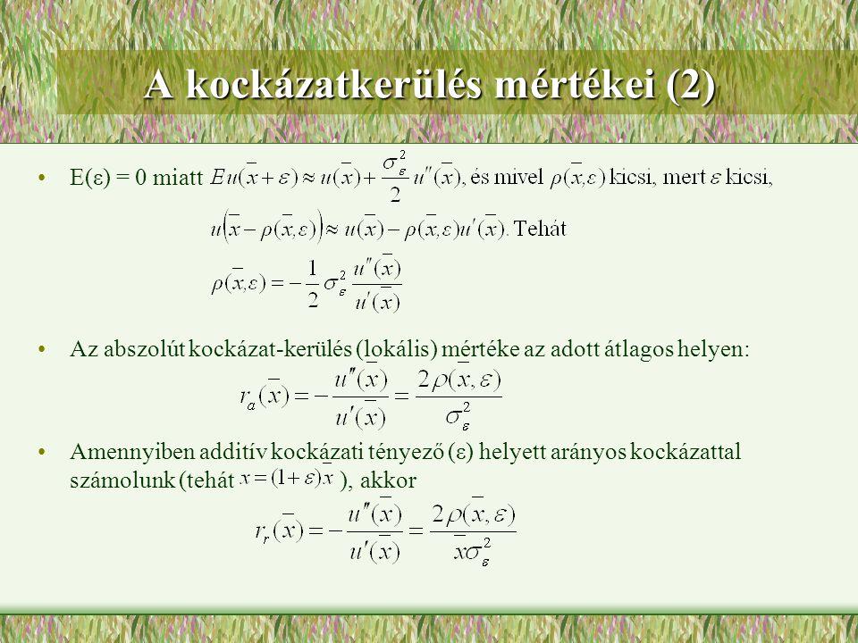 A kockázatkerülés mértékei (2)