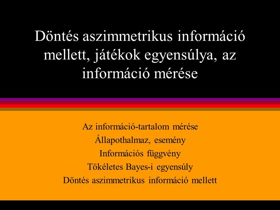 Döntés aszimmetrikus információ mellett, játékok egyensúlya, az információ mérése