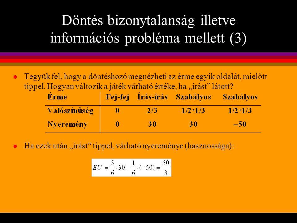 Döntés bizonytalanság illetve információs probléma mellett (3)