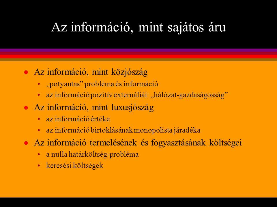 Az információ, mint sajátos áru