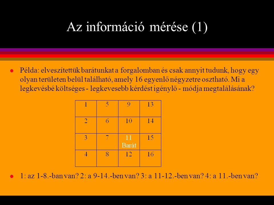 Az információ mérése (1)