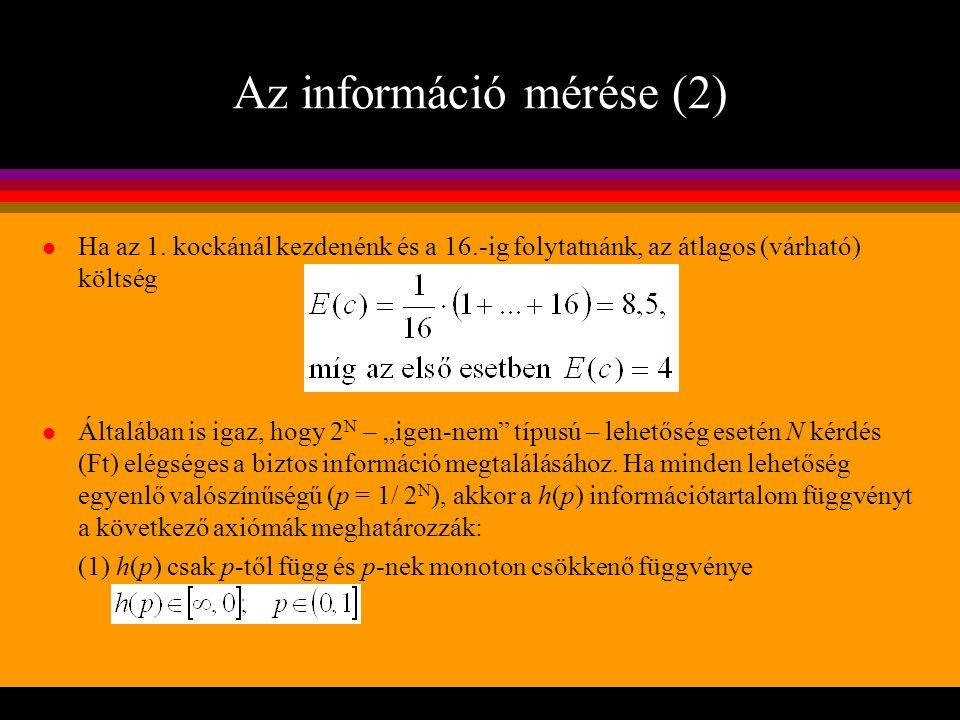Az információ mérése (2)