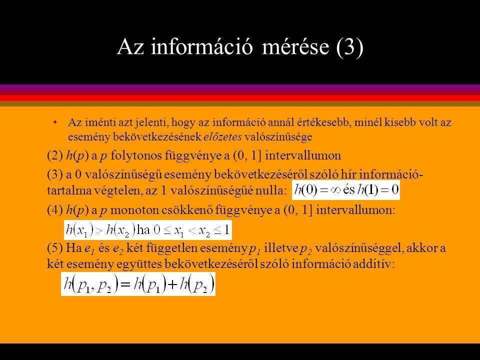 Az információ mérése (3)