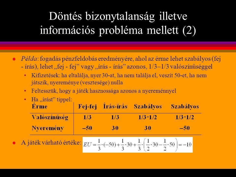 Döntés bizonytalanság illetve információs probléma mellett (2)