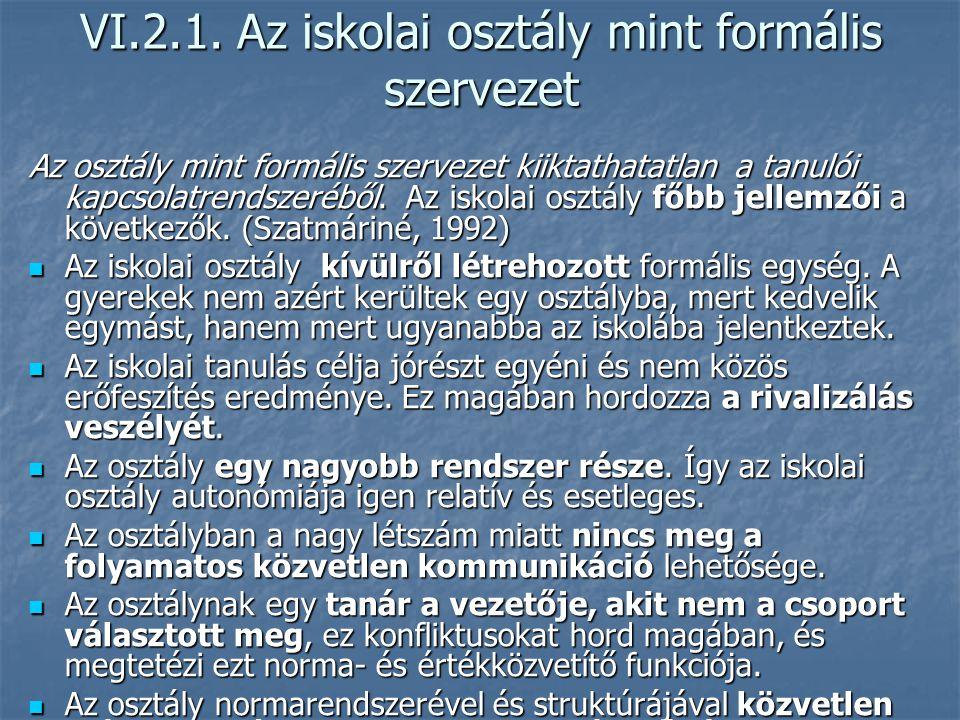 VI.2.1. Az iskolai osztály mint formális szervezet