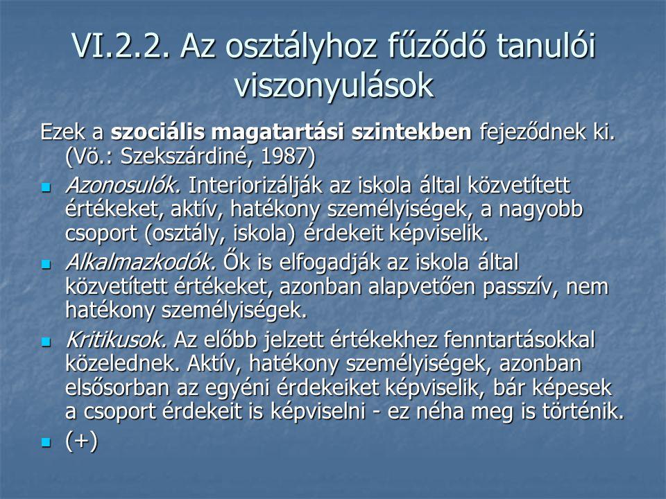 VI.2.2. Az osztályhoz fűződő tanulói viszonyulások