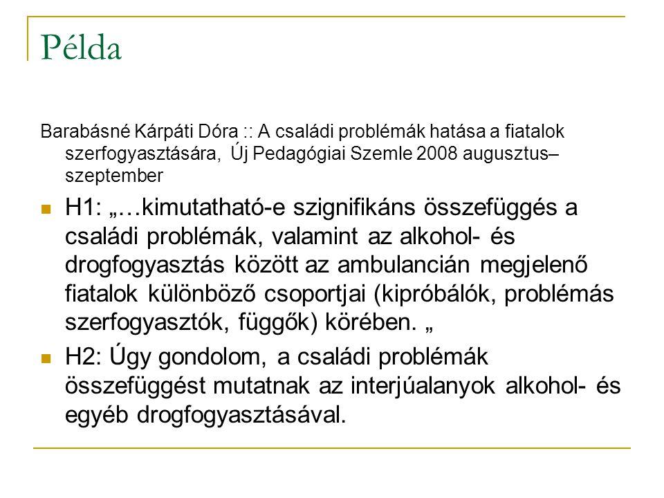 Példa Barabásné Kárpáti Dóra :: A családi problémák hatása a fiatalok szerfogyasztására, Új Pedagógiai Szemle 2008 augusztus–szeptember.