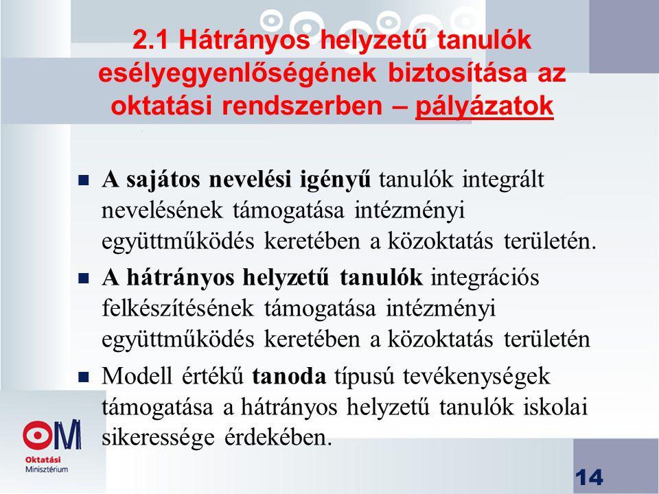 2.1 Hátrányos helyzetű tanulók esélyegyenlőségének biztosítása az oktatási rendszerben – pályázatok