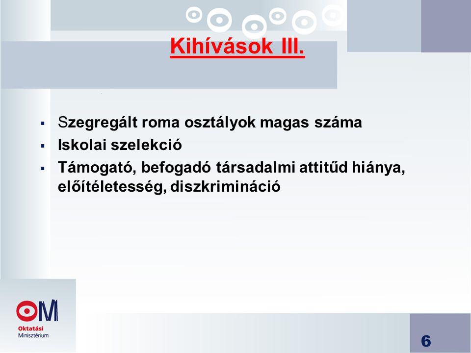 Kihívások III. Szegregált roma osztályok magas száma Iskolai szelekció