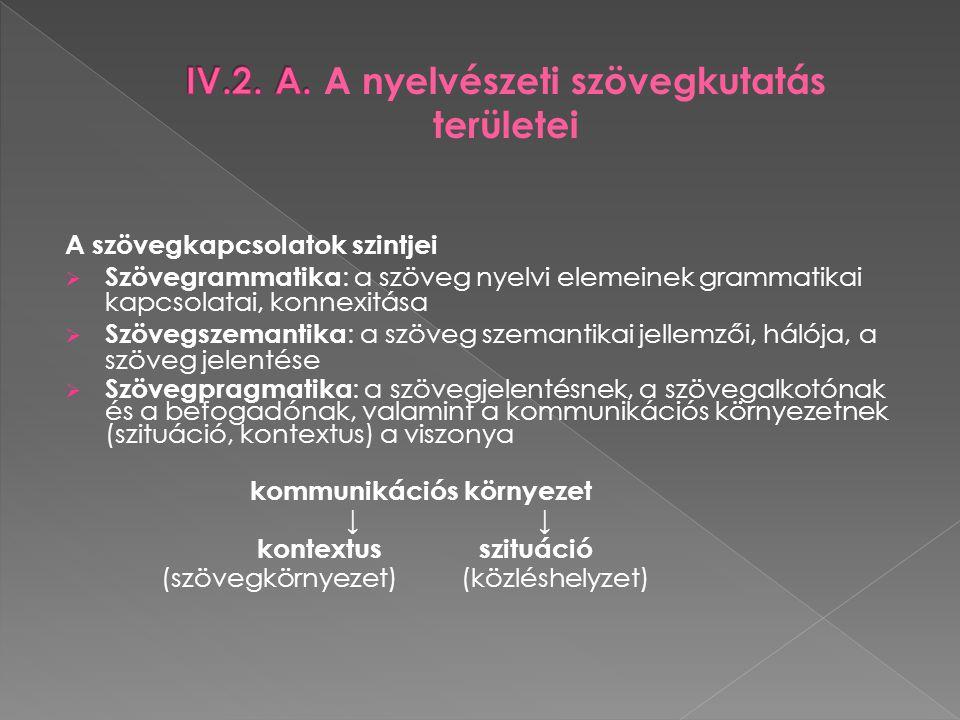 IV.2. A. A nyelvészeti szövegkutatás területei