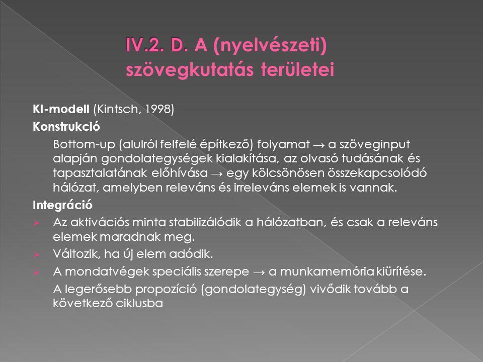 IV.2. D. A (nyelvészeti) szövegkutatás területei