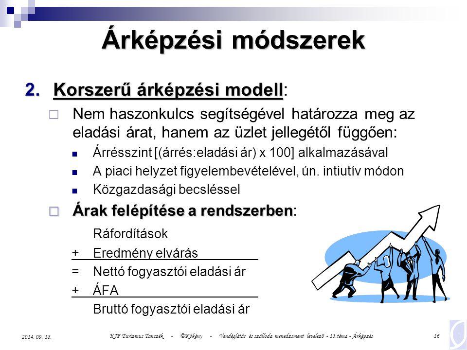 Árképzési módszerek Korszerű árképzési modell: