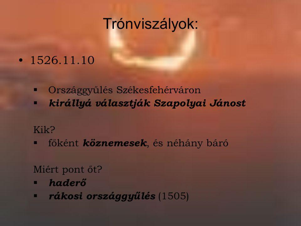 Trónviszályok: 1526.11.10 Országgyűlés Székesfehérváron