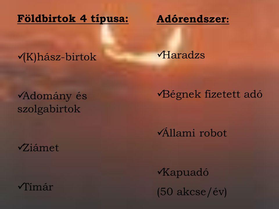 Földbirtok 4 típusa: (K)hász-birtok. Adomány és szolgabirtok. Ziámet. Tímár. Adórendszer: Haradzs.