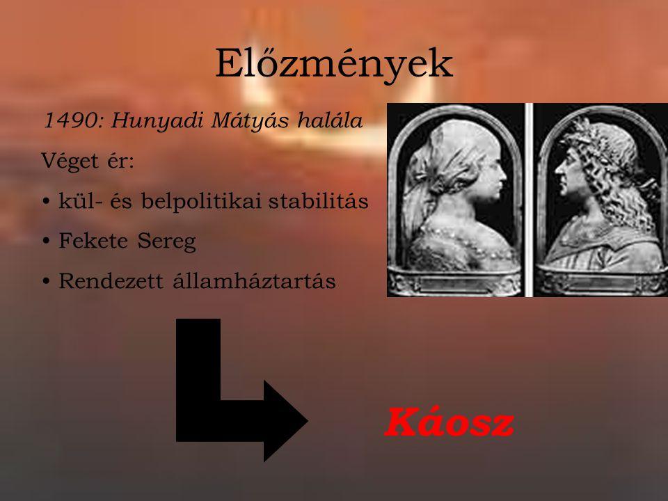 Előzmények Káosz 1490: Hunyadi Mátyás halála Véget ér: