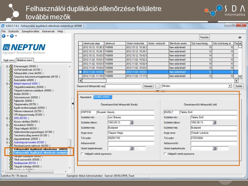 Felhasználói duplikáció ellenőrzése felületre további mezők