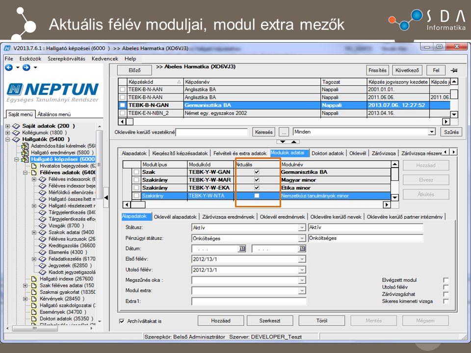 Aktuális félév moduljai, modul extra mezők