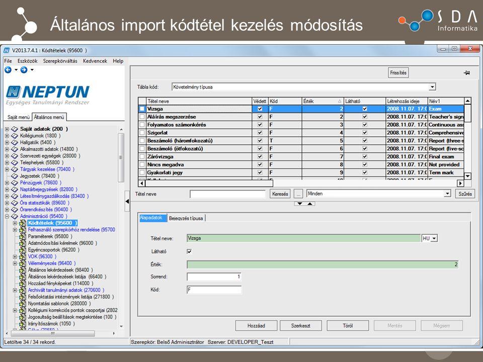 Általános import kódtétel kezelés módosítás