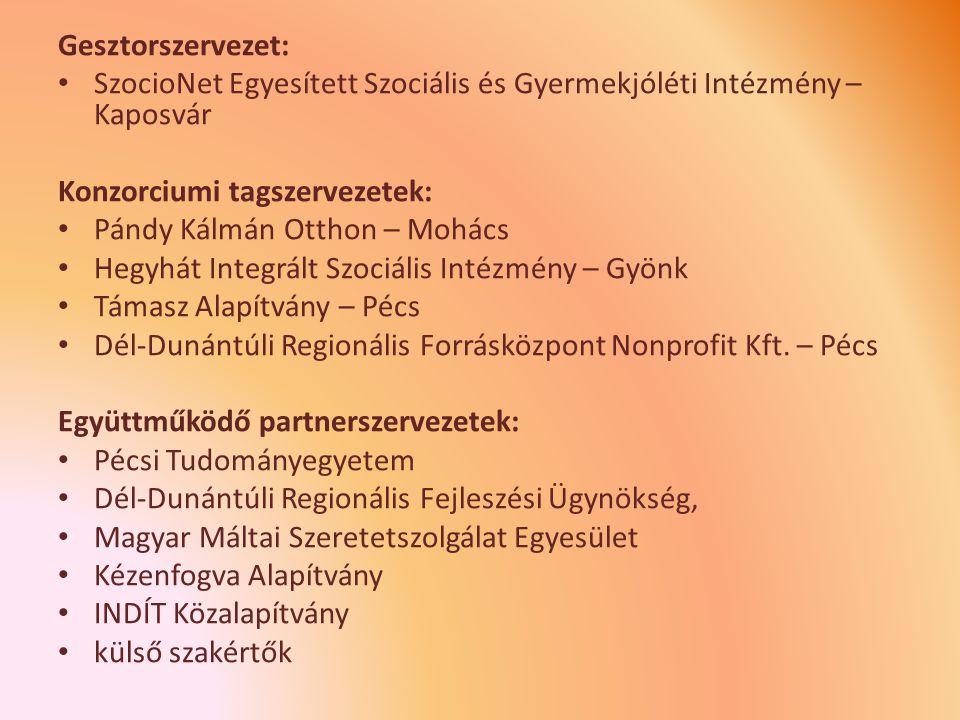 Gesztorszervezet: SzocioNet Egyesített Szociális és Gyermekjóléti Intézmény – Kaposvár. Konzorciumi tagszervezetek: