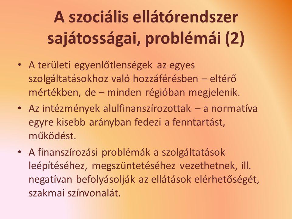 A szociális ellátórendszer sajátosságai, problémái (2)