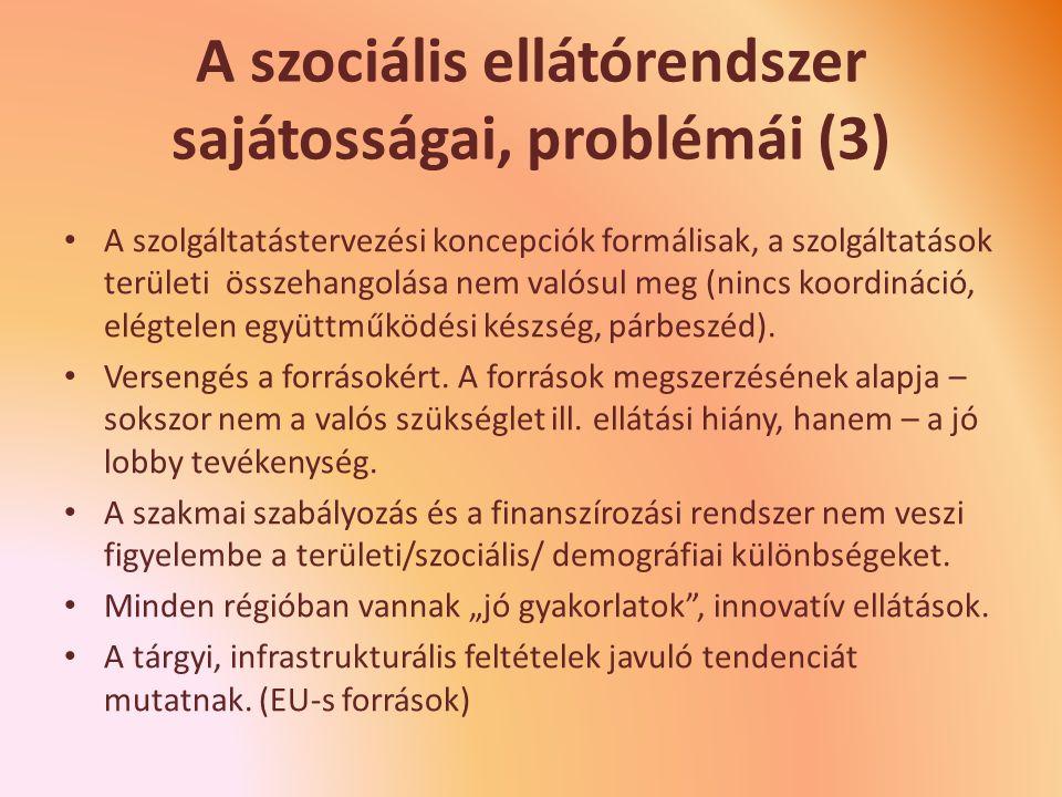 A szociális ellátórendszer sajátosságai, problémái (3)