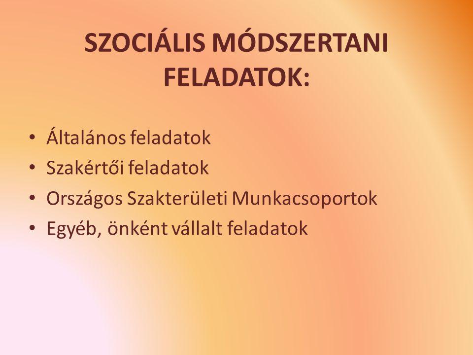 SZOCIÁLIS MÓDSZERTANI FELADATOK: