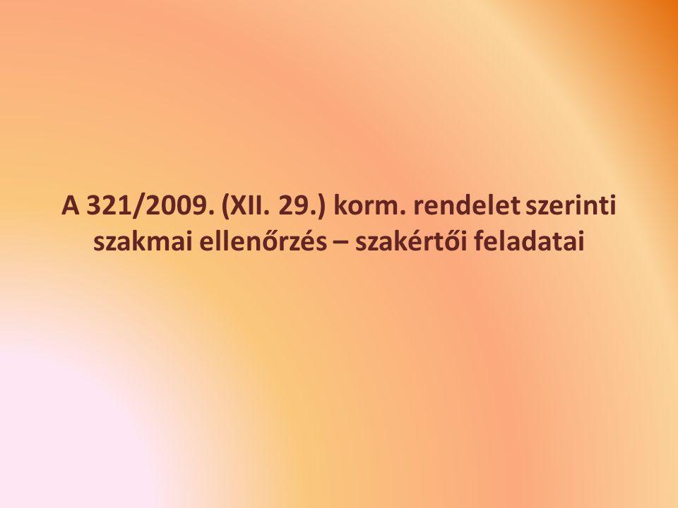 A 321/2009. (XII. 29.) korm. rendelet szerinti szakmai ellenőrzés – szakértői feladatai