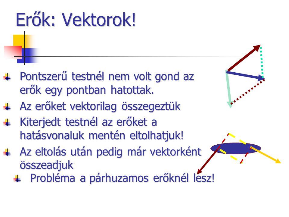 Erők: Vektorok! Pontszerű testnél nem volt gond az erők egy pontban hatottak. Az erőket vektorilag összegeztük.