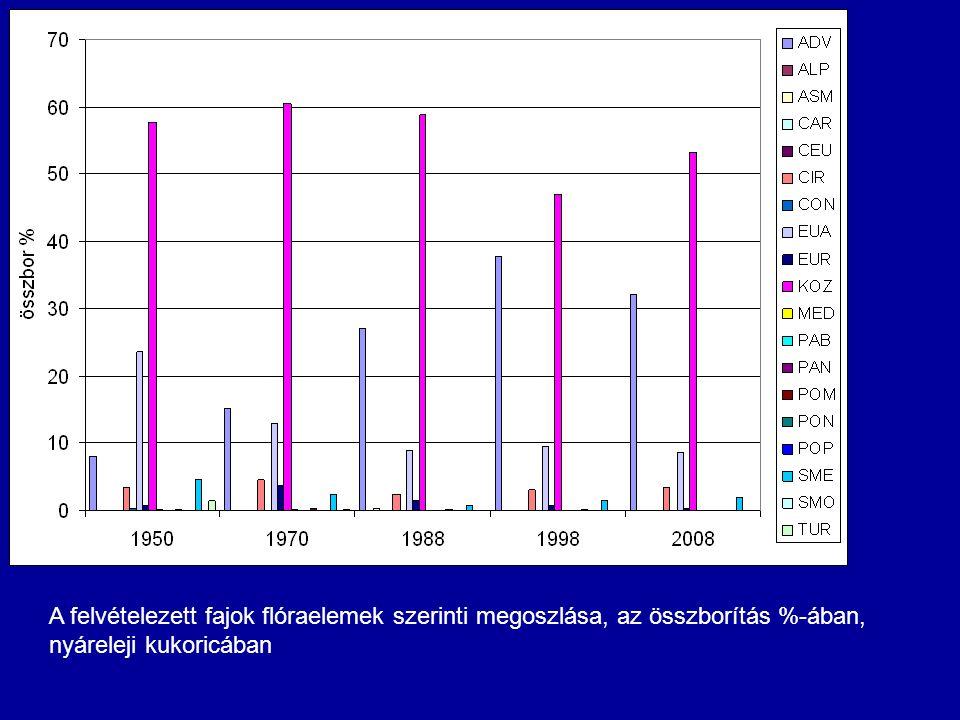 A felvételezett fajok flóraelemek szerinti megoszlása, az összborítás %-ában, nyáreleji kukoricában