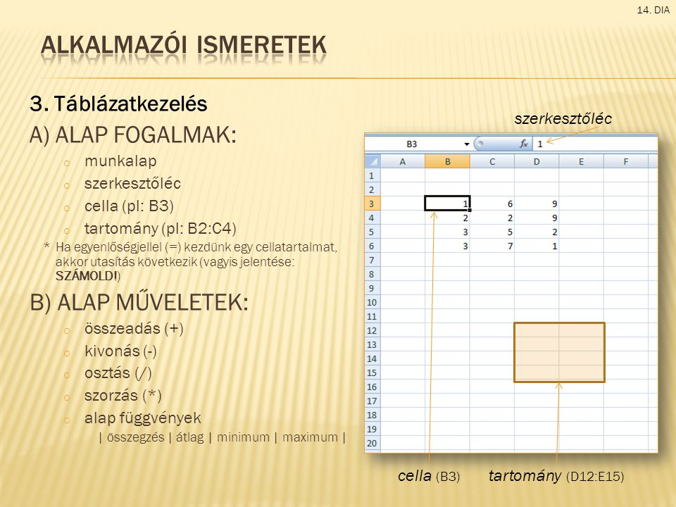Alkalmazói ismeretek A) alap fogalmak: B) alap műveletek: