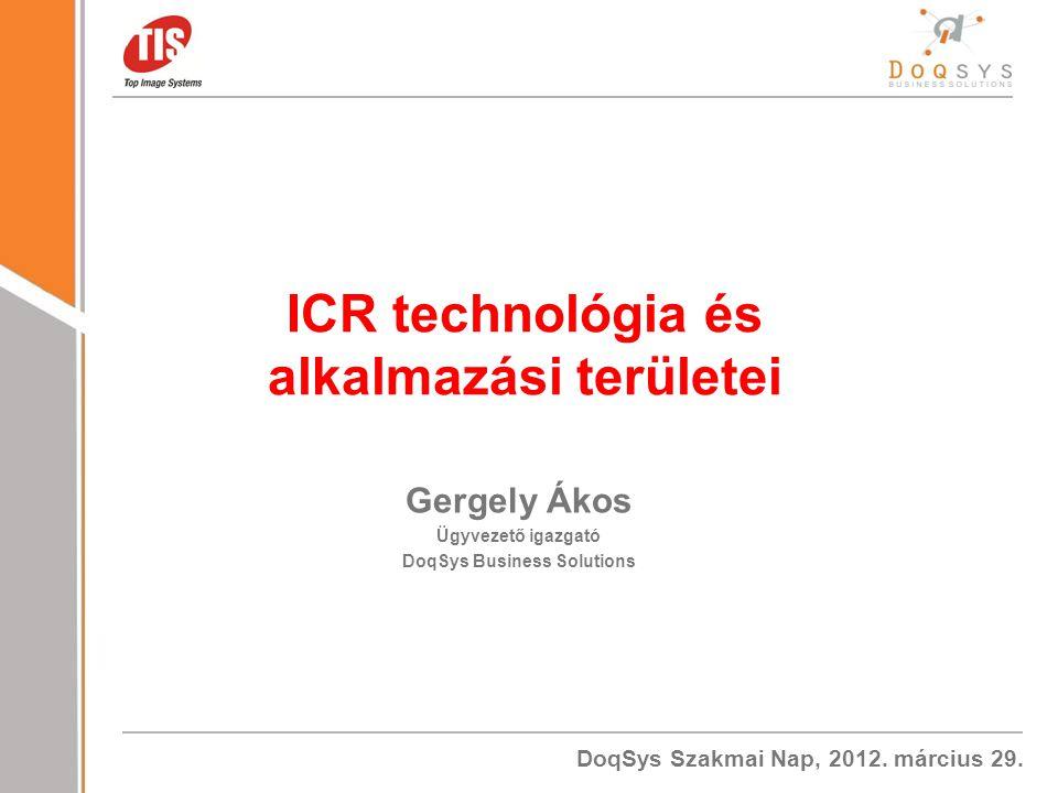 ICR technológia és alkalmazási területei DoqSys Business Solutions